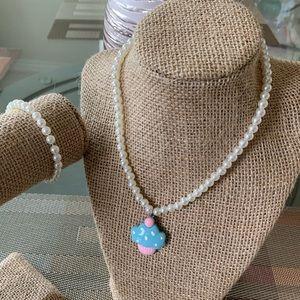 Blue Ice Cream Bead Necklace Set